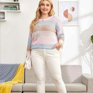 ⭐HP⭐ Plus Size Sweater Colorblock - Size 2X